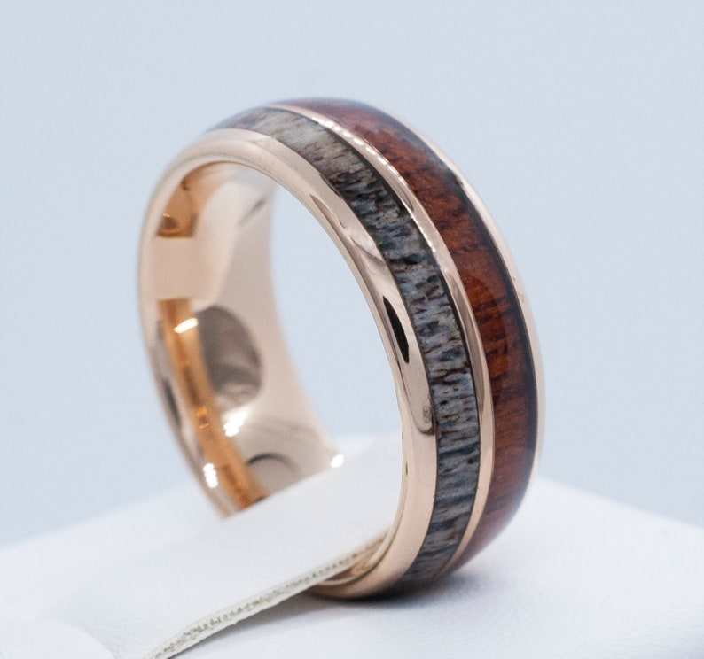 Male Wedding Bands.Male Wedding Band Rose Gold Deer Antler Wood Tungsten Ring Men High Polish Domed Design 8mm Size 6 To 14 His Her Anniversary Engagement Gift