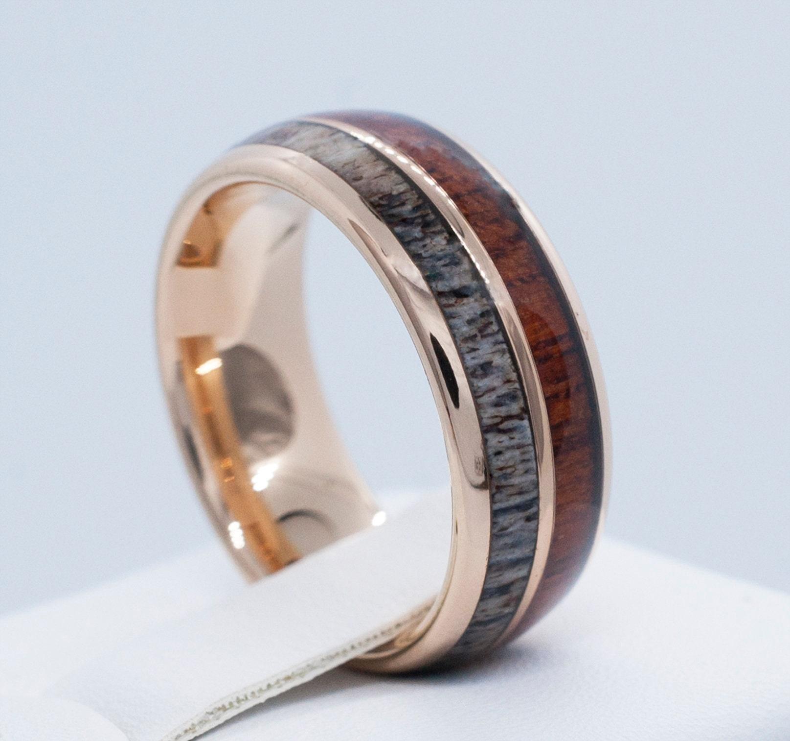 Male Wedding Band Rose Gold Deer Antler Wood Tungsten Ring Men