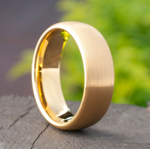 Mens Gold Wedding Band Tungsten Carbide Ring Brushed Jewelry Design 8MM Sizes 5 to 15 Best His Or Her Wedding Anniversary Gift Comfort Fit