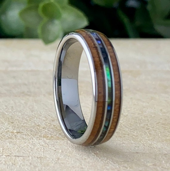 6MM Wood Abalone Shell Tungsten Ring Men Women Wedding Band Grey 3-Layer Design Size 5 to 14 Mother of Pearl His Hers Anniversary Gift Idea
