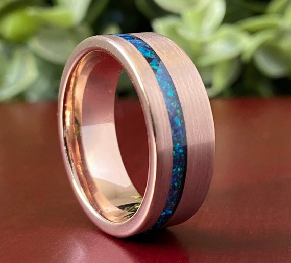 Rose Gold Tungsten Ring Green Opal Wedding Band Men 8MM Brushed Finished Size 5 to 14 Male Promise Anniversary Engagement Promise Gift