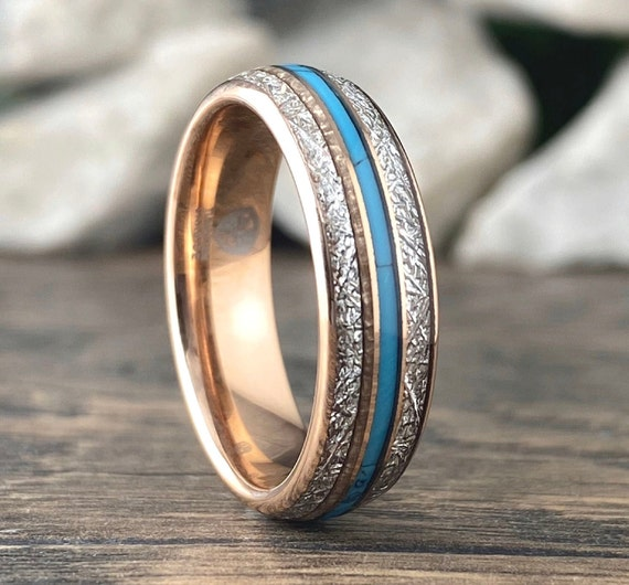 Meteorite Turquoise Rose Gold Wedding Band Men Women 6MM Tungsten Ring Size 4 to 14 His Her Shiny Anniversary Engagement Promise Love Gift