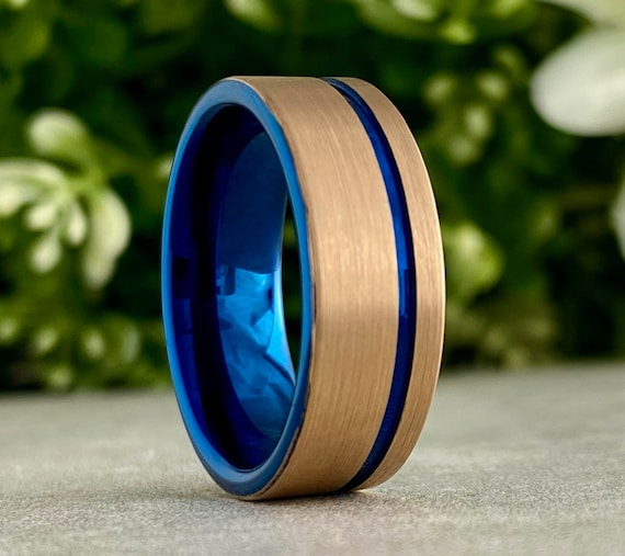 Blue Tungsten Ring Rose Gold Men Women Wedding Band Brush Comfort Fit Design 8MM Size 5 to 15 Male Anniversary His Her Special Promise Gift
