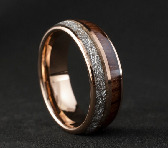 Rose Gold Wood Meteorite Tungsten Ring Male Wedding Band Polished 2-Inlay Domed Design 8MM Size 5 to 15 Mens Anniversary Fathers Day Gift
