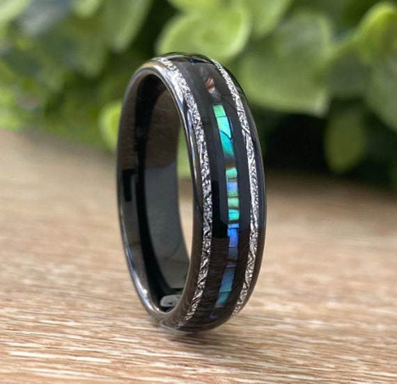 Abalone Meteorite Black Tungsten Ring Mother of Pearl Wedding Band Men Women 3 Layer 6MM Size 5-14 His Hers Anniversary Proposal Gift Idea