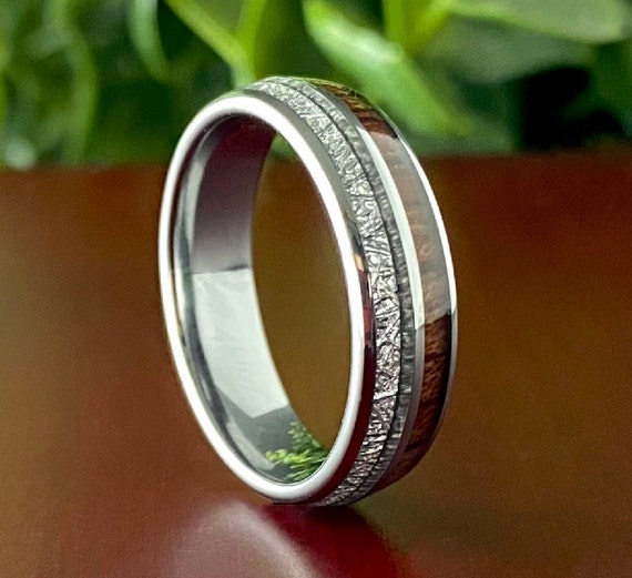 Wood Meteorite 6MM Grey Male Tungsten Ring Female Wedding Band Size 5 to 14 Men Women Anniversary Elegant Engagement Gift His Her Promise