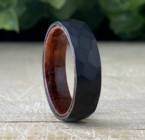 Black Hammered Wood Inside Tungsten Ring Men Women Wedding Band Rosewood Domed Design His Her 6MM Size 5 to 14 Anniversary Gift Promise Ring