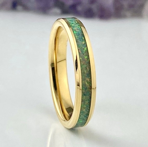 Thin Gold Wedding Band Spring Garden Opal Tungsten Ring Women Men 4mm Size 4 to 12 One Of A Kind Anniversary Gift Engagement Promise Circle