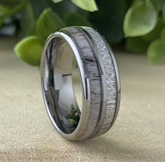 Tungsten Ring Men Women Wedding Band Deer Antler Meteorite Anniversary Engagement High Polish Design 8MM Size 5 to 15 Special Occasion Gift