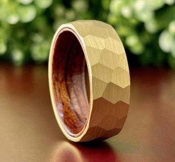 Men Gold Hammered Tungsten Ring Wood Wedding Band Brushed Rosewood Inside Design 8MM Width Size 5 to 15 Male Anniversary His Engagement Gift