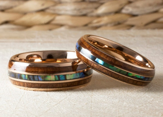 Wood Abalone Shell Rose Gold Tungsten Ring Set Men Women Wedding Anniversary Band Duo Or One Ring 8MM 6MM Size 4 to 15 His Or Her Love Gift