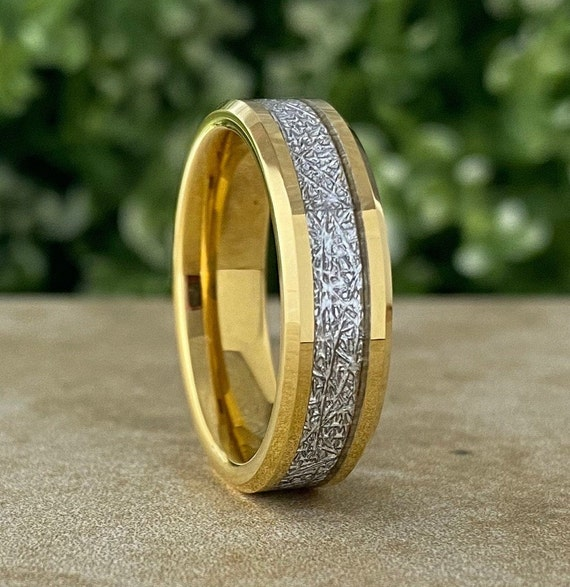 Men Gold Tungsten Ring Meteorite Wedding Band Women Beveled 6MM Width Size 5 - 14 His Her Lovely Shinny Anniversary Engagement Special Gift