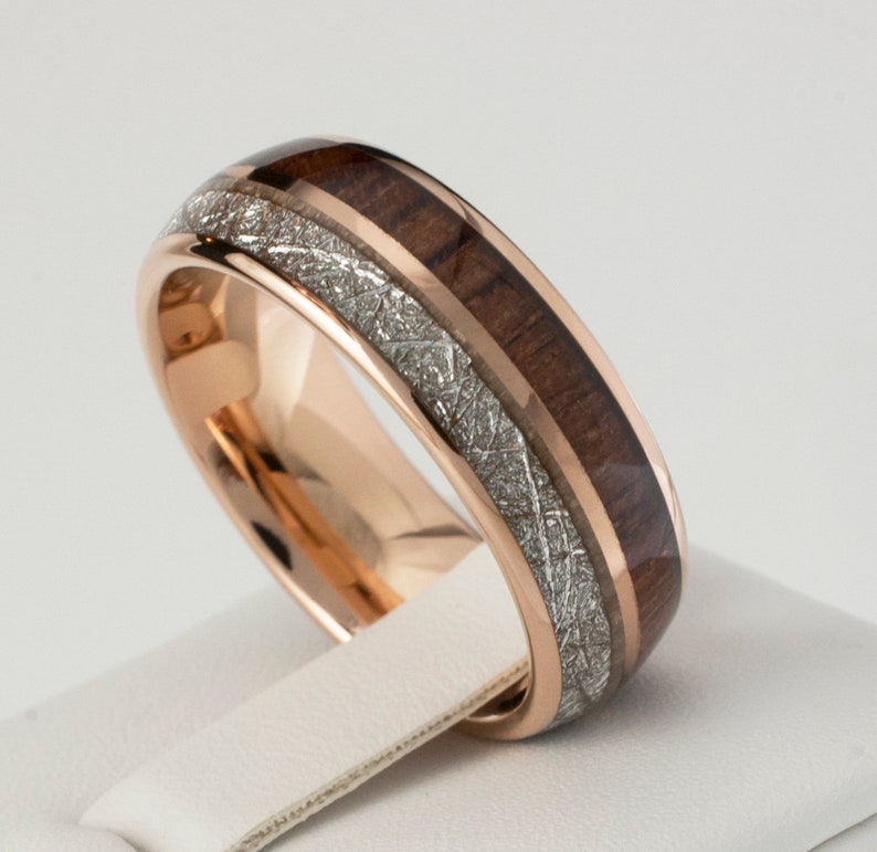 Rose Gold Wood Meteorite Tungsten Ring Male Wedding Band image 2