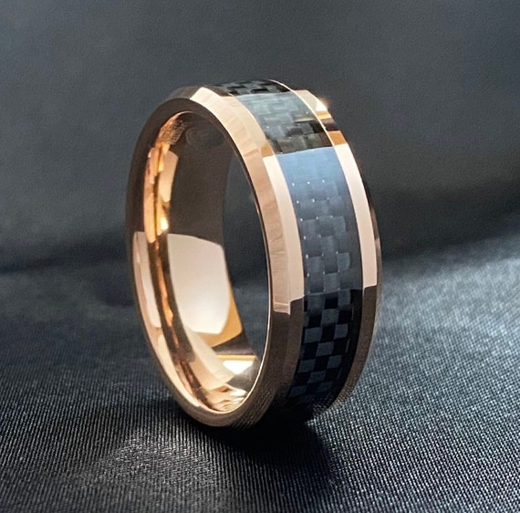 Rose Gold Men Tungsten Ring Black Carbon Fiber Inlay Male Wedding Band Beveled 8MM Size 5 to 15 His Anniversary Gift Idea Male Engagement