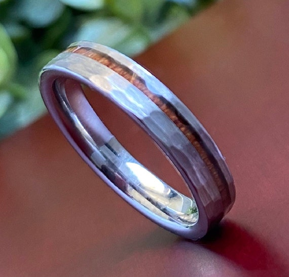 Hammered Thin Tungsten Ring 4mm Wood Inlay Women Men Grey Wedding Band Brushed Comfort Fit Size 4 to 14 His Hers Anniversary Promise Gift