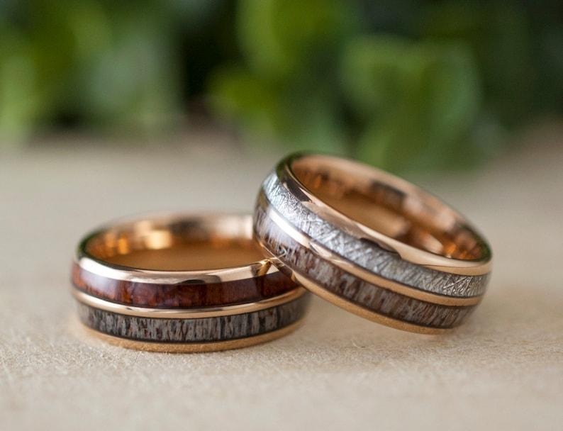 Wood Meteorite Deer Antler Wedding Bands Rose Gold Tungsten image 0