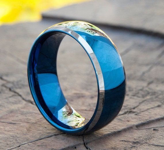 Blue Tungsten Ring Men Wedding Band White Grey Edges High Polished Mirror Reflection Male Fashion Design 8MM Size 5 to 14 Anniversary Gift