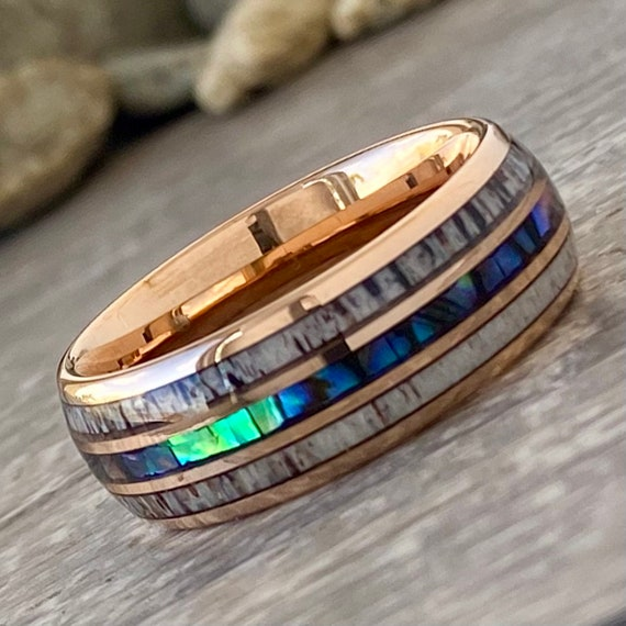 Rose Gold Men Tungsten Ring Deer Antler Mother of Pearl Inlay Women Wedding Band 8MM Size 5 to 14 Male Anniversary Engagement Promise Gift