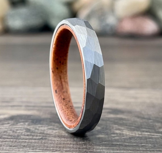 Grey Silver Color Tungsten Ring 4mm Women Men Thin Hammered Wedding Band Matte Wood Inside Size 5 to 13 Anniversary Engagement Promise Ring