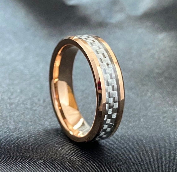 Rose Gold Men Women Tungsten Ring White Grey Wedding Band Two-Tone Carbon Fiber Inlay Beveled 6MM Size 5 to 14 His Her Anniversary Gift Idea