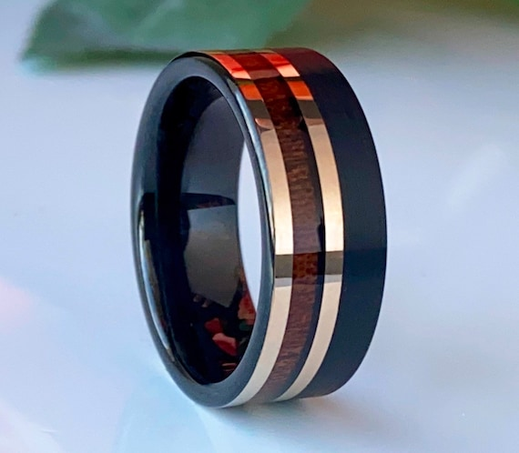 Black Tungsten Ring Wood Inlay Rose Gold 2 Line Wedding Band Mens 8MM Comfort Fit Style Size 5 to 14 Unique Engagement Anniversary Gift Idea