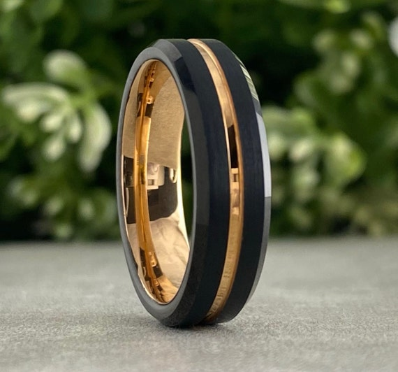 Rose Gold Tungsten Ring Black Beveled Wedding Band Men Women 6MM Anniversary Proposal Engagement His Her Gift Comfort Fit Design Size 5 - 14