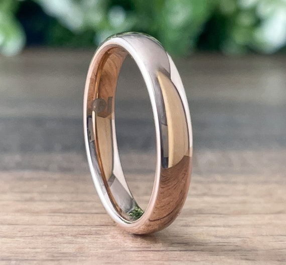 Rose Gold Thin Tungsten Ring Women Wedding Band Men Classic Polished Domed Design 4MM Width Size 4 to 14 Husband Wife Anniversary Gift Idea