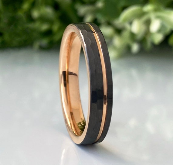 Thin Gunmetal Rose Gold Tungsten Ring Women Men Wedding Band Hammered Channel Inlay Style 4MM Size 4 to 14 Engagement Anniversary Love Gift