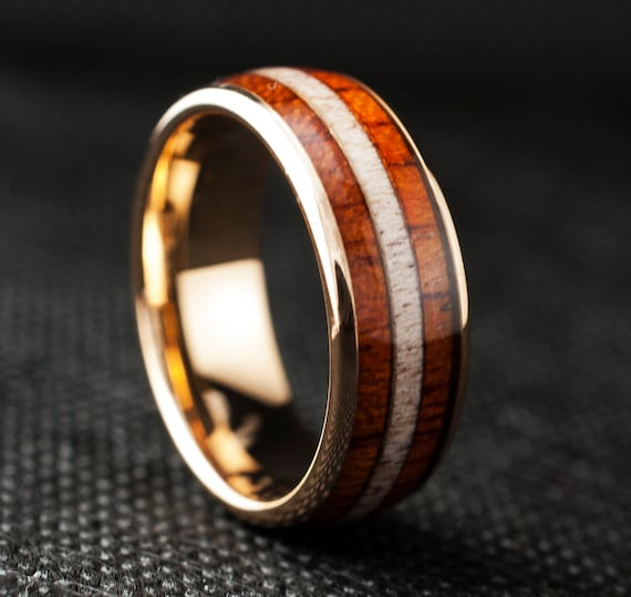 Wood Tungsten Ring Deer Antler Men Wedding Band Rose Gold Domed Triple Inlay 8MM Size 5 to 14 His Anniversary Male Engagement Promise Loop