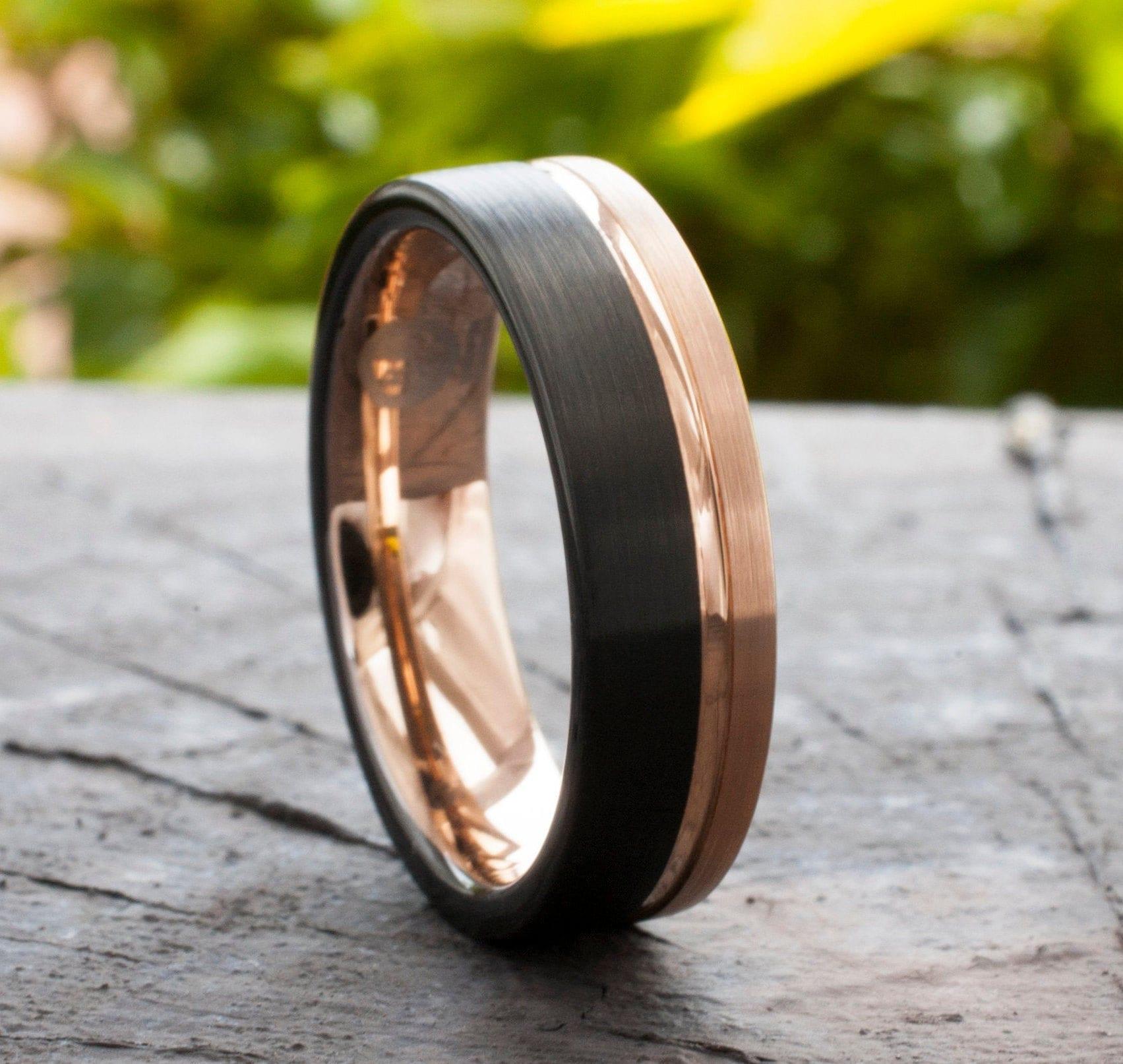 Brushed Rose Gold Tungsten Ring 6mm Rose Gold Tungsten Wedding Band Mens R