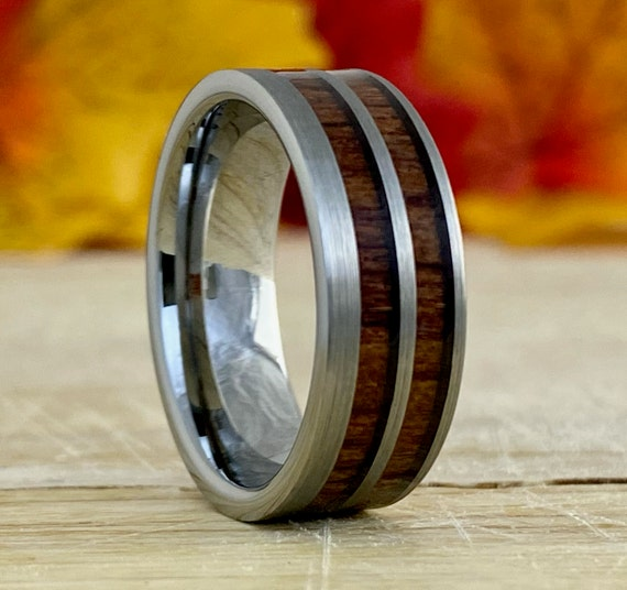Grey Mens Wedding Band Double Wood Inlay Tungsten Ring Brush 8MM Size 5 - 14 Male Promise Engagement Anniversary Holiday Gift Engraving Serv