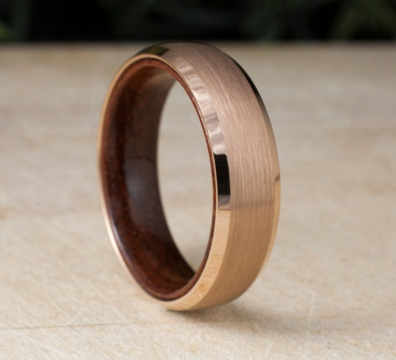 Rose Gold Tungsten Ring Wood Sleeve Wedding Band Brushed Design Men Women 6MM Comfort Fit Size 5 to 14 His Hers Anniversary Engagement Gift