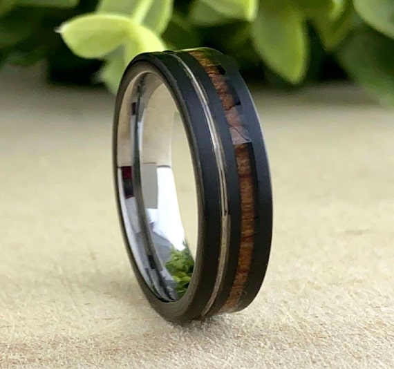 Black Grey Tungsten Weeding Ring Women Men Wood Groove Inlay 6MM Design Size 5 to 14 His Her Anniversary Band Engagement Unique Love Gift