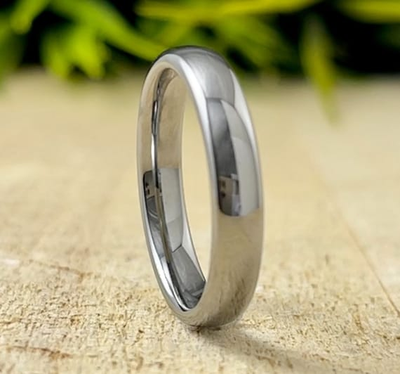 Classic Wedding Band Thin Women Men Tungsten Ring Domed Polish Design 4MM Size 4 to 14 Anniversary Gift His Her Engraving Promise Ring