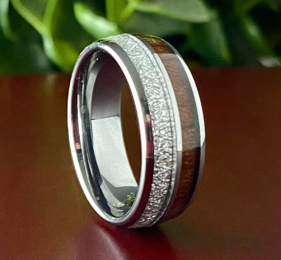 Wood Meteorite Grey Tungsten Ring Male Wedding Band Polished 2-Inlay Domed Design  8MM Size 5 to 15 Mens Anniversary Engagement Promise Gift