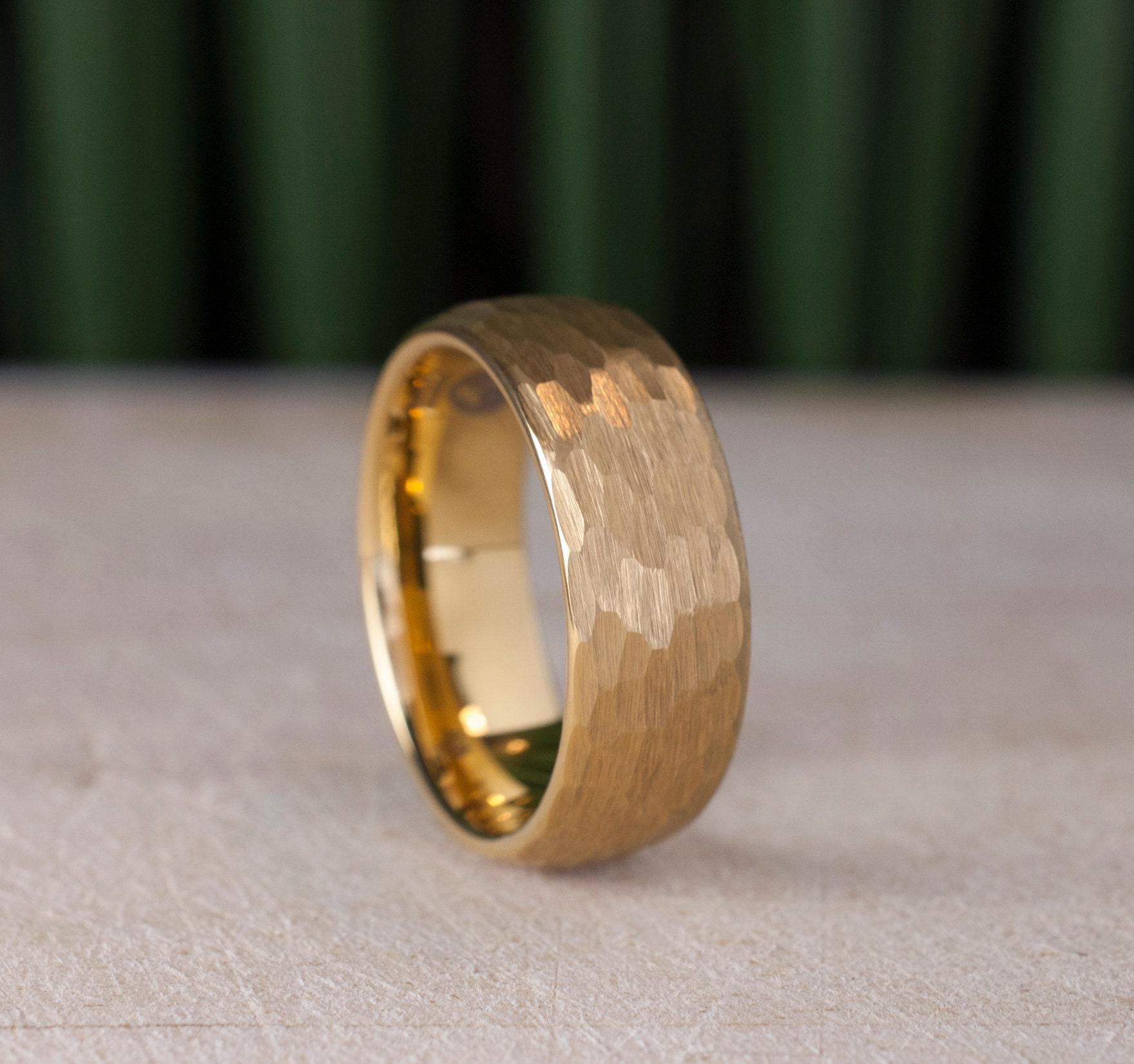 Gold Hammered Tungsten Carbide Ring Men 8mm Wedding Band Yellow