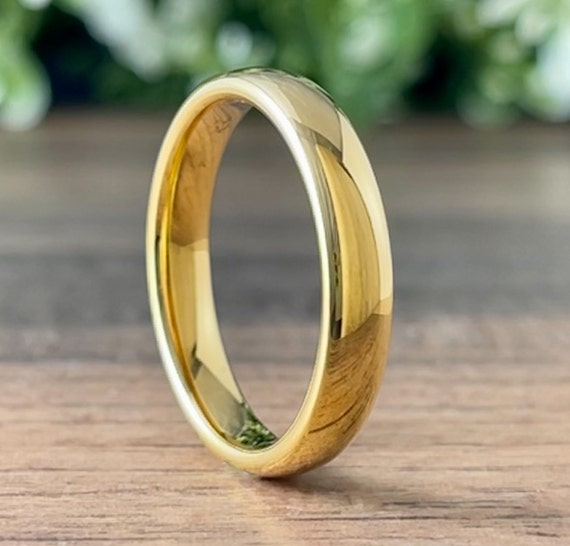 Thin Gold Wedding Bridal Band Classic Women Tungsten Ring Polished Men 4MM Size 4 To 14 His Her Anniversary Gift Engagement Promise Ring