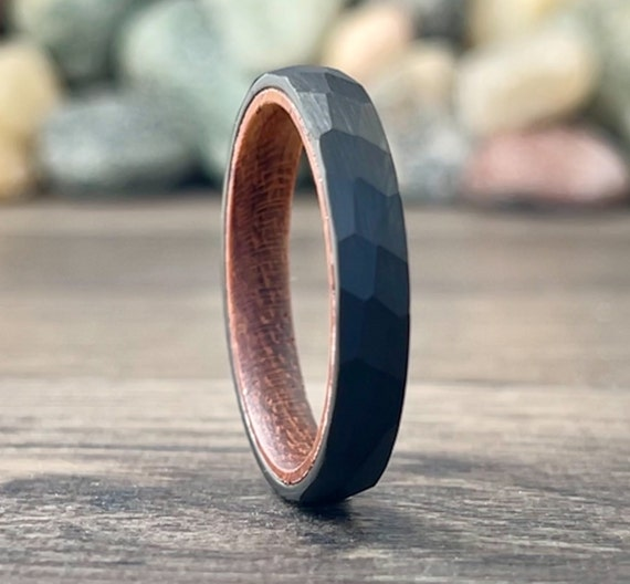 4MM Black Hammered Wedding Band Wood Inside Tungsten Ring Women Unique Thin Satin Rosewood Men Sizes 5 to 13 His Her Anniversary Unique Gift