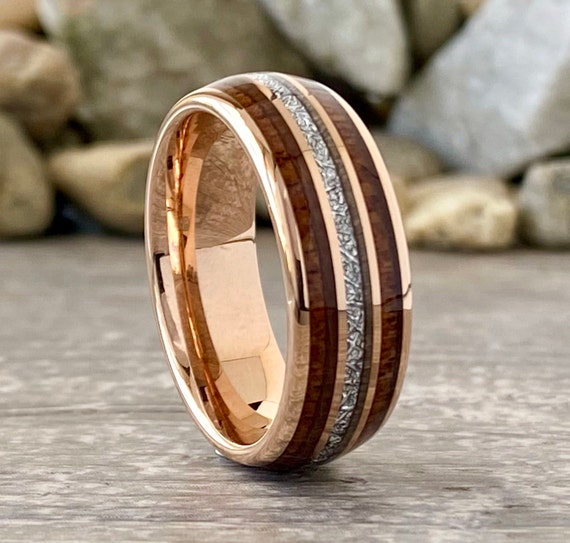 Rose Gold Wedding Band Wood Meteorite Inlay Tungsten Ring Domed Design 8MM Size 5 to 15 Male Anniversary Gift His Engagement Promise Ring