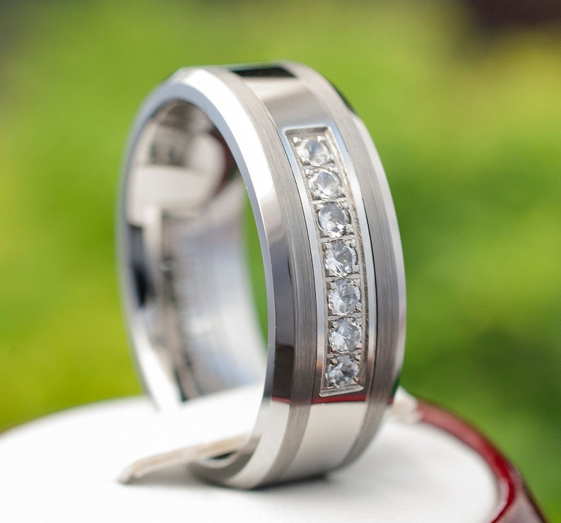 ae079d46ea8a Tungsten Ring Wedding Band Mens Women 7 Stone Inlay Polished