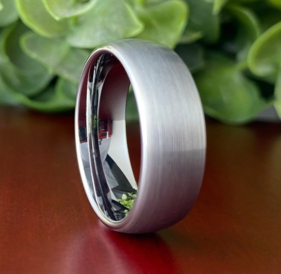 Mens Grey Wedding Band Tungsten Carbide Ring Brushed Jewelry Design 8MM Sizes 5 to 15 Best His Or Her Wedding Anniversary Gift Comfort Fit