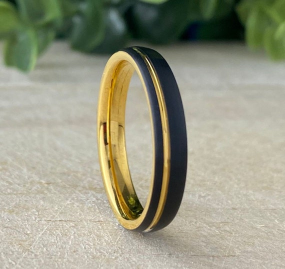 Tungsten Ring Black Yellow Gold Wedding Band Thin Women Men Matte Brush Design 4MM Size 4 to 14 Her Anniversary Engagement Promise Gift