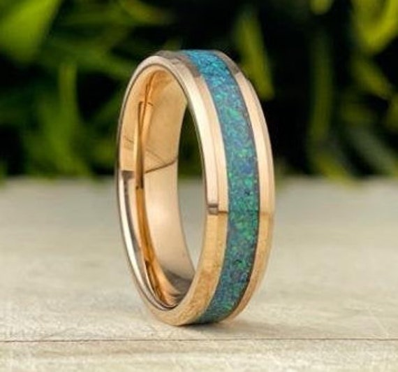 Rose Gold Tungsten Ring Green Blue Peacock Opal Wedding Band Men Women 6MM Beveled Design Size 5 to 14 His Her Anniversary Engagement Gift