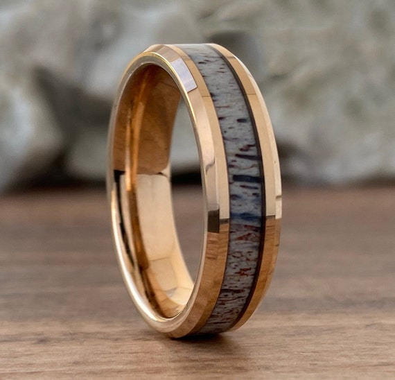 Rose Gold Deer Antler Wedding Band Women Men Tungsten Ring Polished Male 6MM Size 5 to 14 His Hers  Engagement Promise Male Anniversary Gift