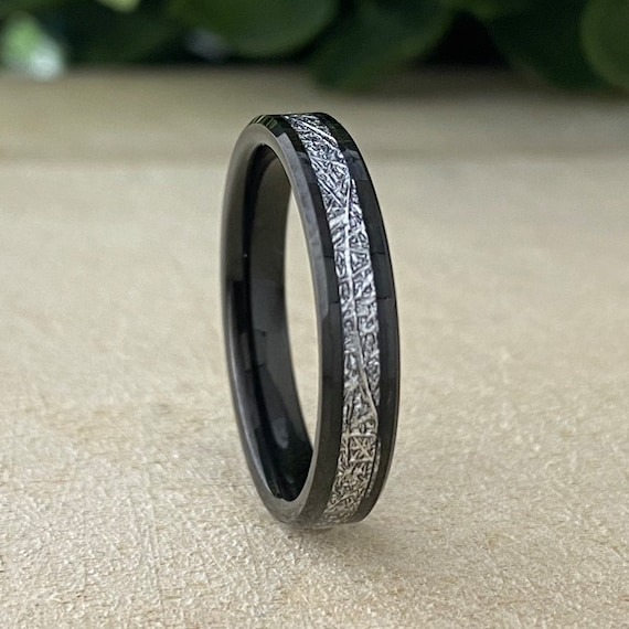 Black Meteorite Tungsten Ring 4mm Thin Wedding Band Women Beveled Skinny Comfort Fit Size 4 to 14 Wife  Anniversary Her Engagement Gift Idea