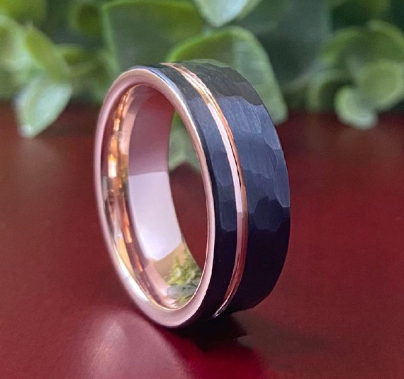 Black Hammered Rose Gold Tungsten Ring Men Wedding Band Brushed Male 8MM Size 5 to 15 Anniversary Engagement Fiance Marriage Proposal Gift