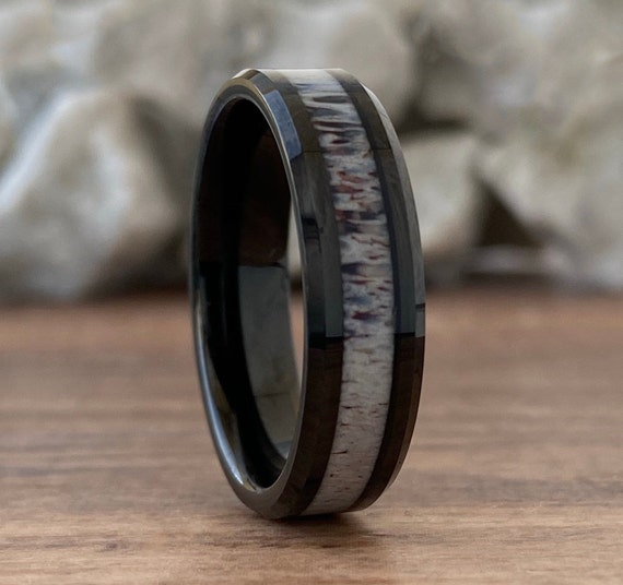 Deer Antler Black Tungsten Ring Women Men Wedding Band Polished 6MM Size 5 to 14 His Hers Proposal Marriage Engagement Anniversary Gift Idea