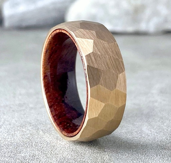 Rose Gold Hammered Tungsten Ring Wood Men Wedding Band Rosewood Inside Brushed Design 8MM Size 5 to 15 Male Anniversary His Engagement Gift