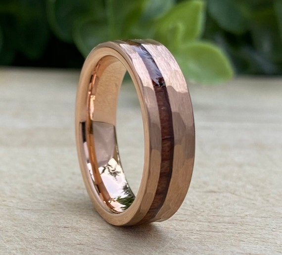 Hammered Rose Gold Tungsten Ring Men Women Wood Inlay 6MM Unisex Wedding Band Brushed Size 5 to 14 Male His Her Anniversary Valentines Gift