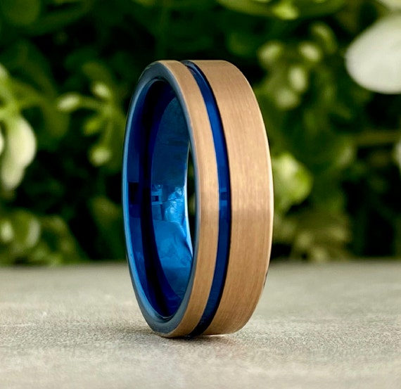 Blue Rose Gold Wedding Band Men Women Tungsten Ring Brush Comfort Fit 6MM Width Size 5 to 14 Husband Wife Anniversary Promise Holiday Gift